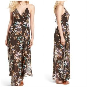 NWT ASTR The Label BrownFloral Surplice Maxi Dress